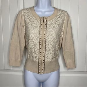 WHBM cream & silver lace cardigan size small